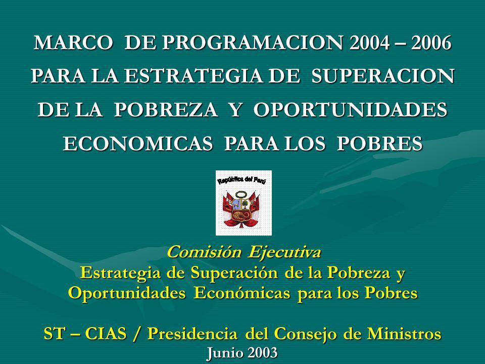 MARCO DE PROGRAMACION 2004 – 2006 PARA LA ESTRATEGIA DE SUPERACION