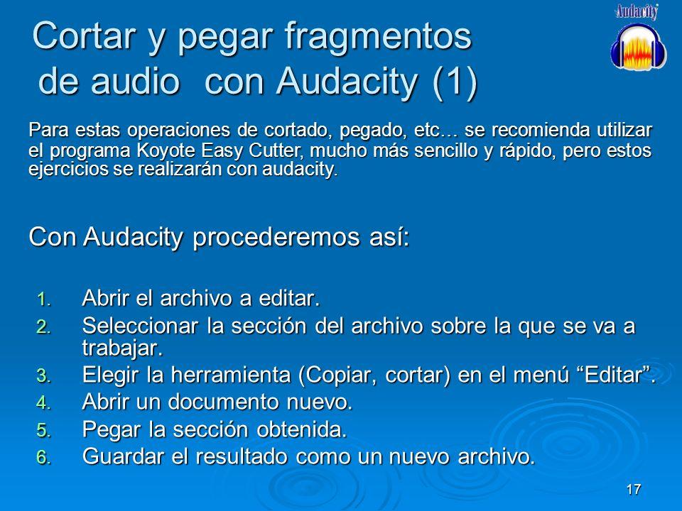 Cortar y pegar fragmentos de audio con Audacity (1)