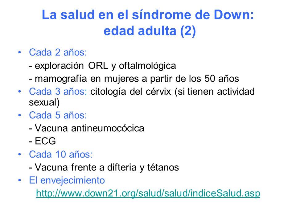 La salud en el síndrome de Down: edad adulta (2)