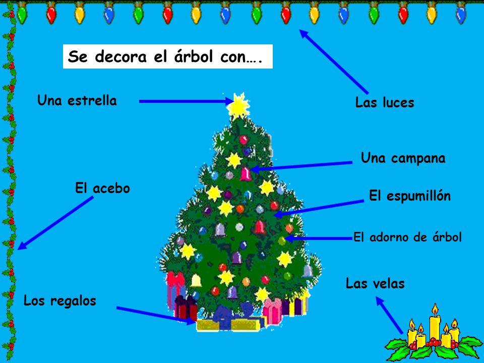 Se decora el árbol con…. Una estrella Las luces Una campana El acebo