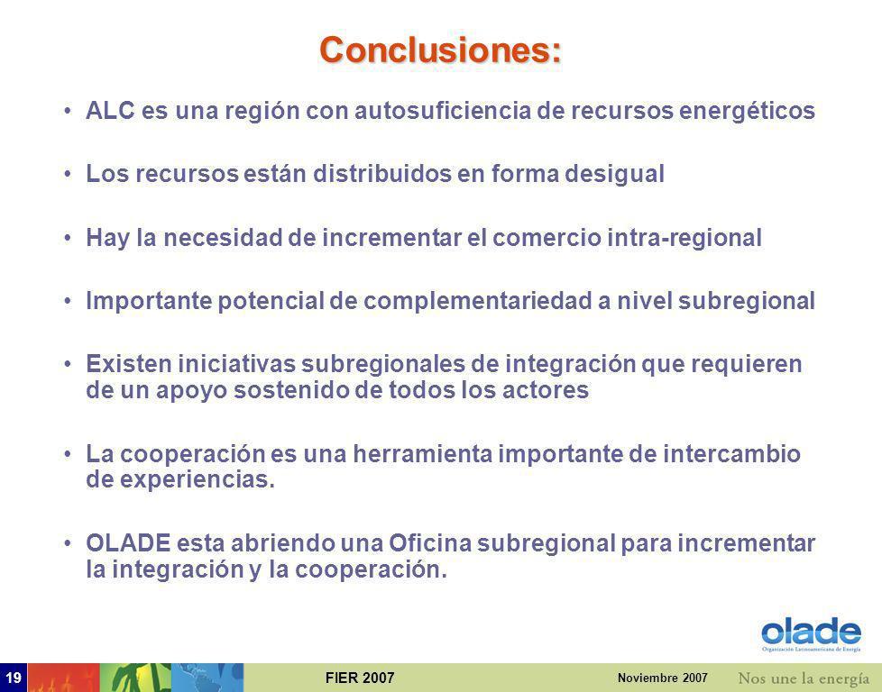 Conclusiones: ALC es una región con autosuficiencia de recursos energéticos. Los recursos están distribuidos en forma desigual.