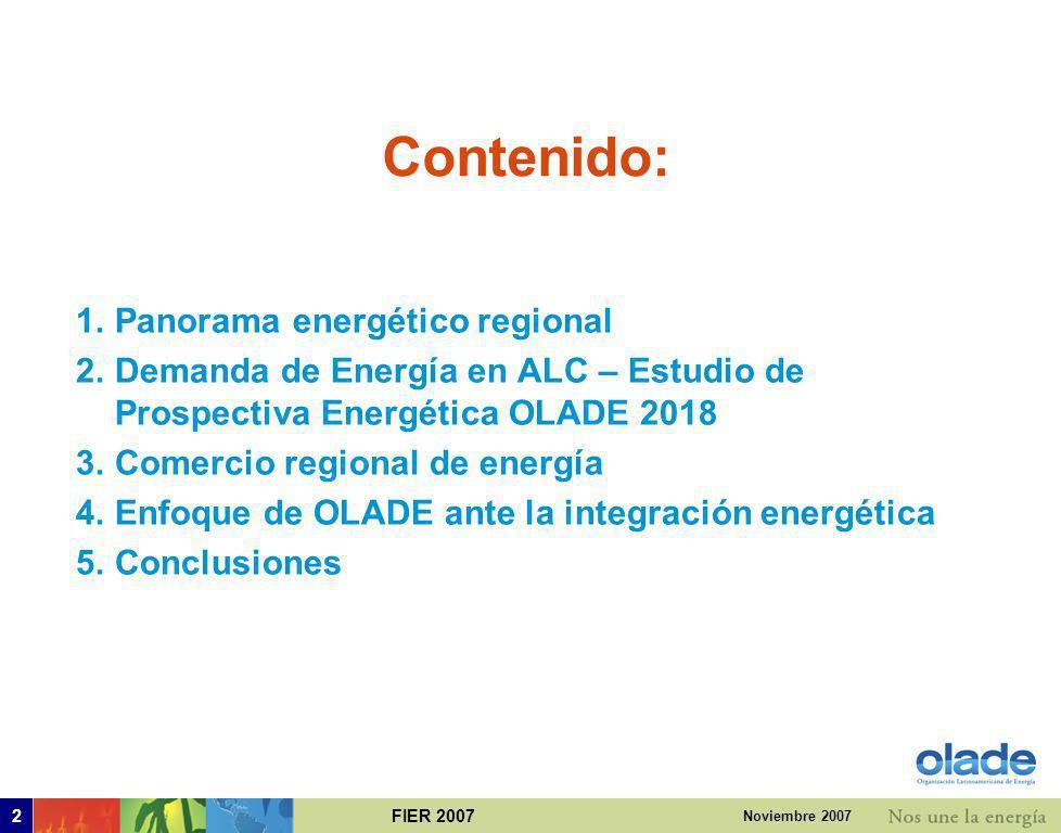 Contenido: Panorama energético regional
