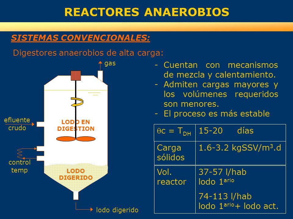 REACTORES ANAEROBIOS SISTEMAS CONVENCIONALES:
