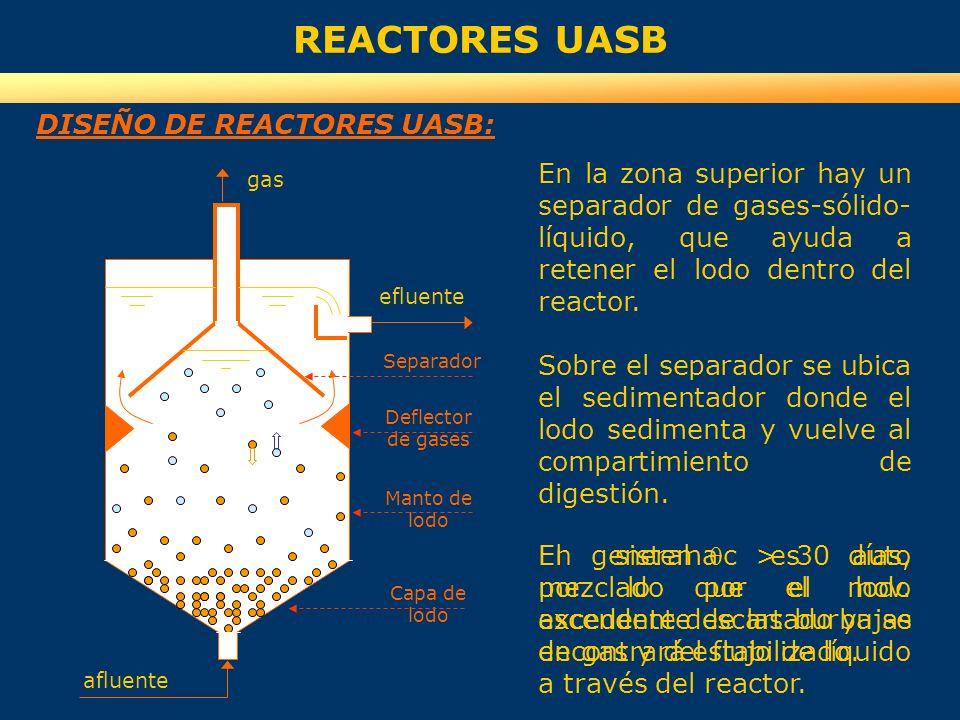 REACTORES UASB DISEÑO DE REACTORES UASB: