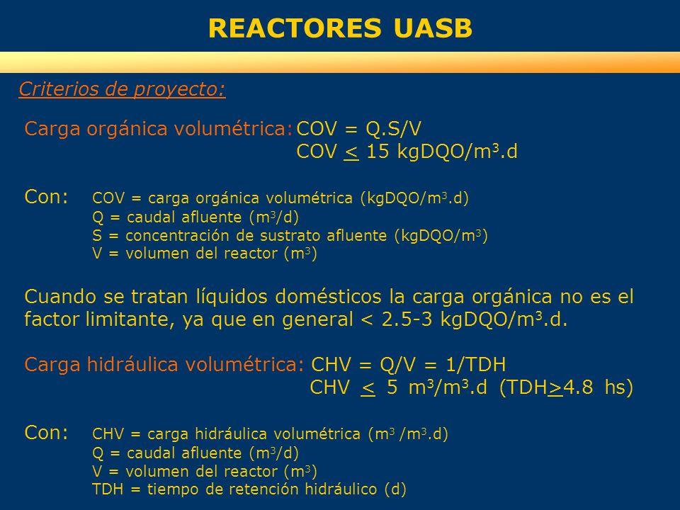 REACTORES UASB Criterios de proyecto: