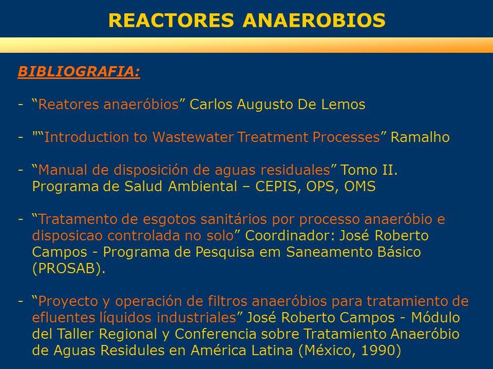 REACTORES ANAEROBIOS BIBLIOGRAFIA: