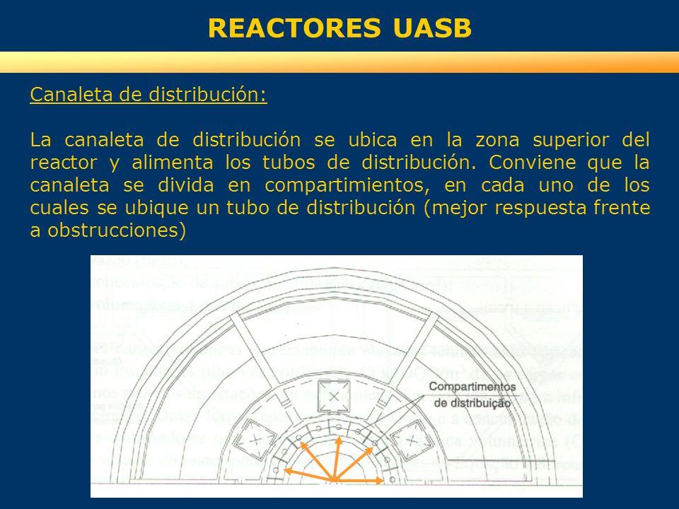 REACTORES UASB Canaleta de distribución: