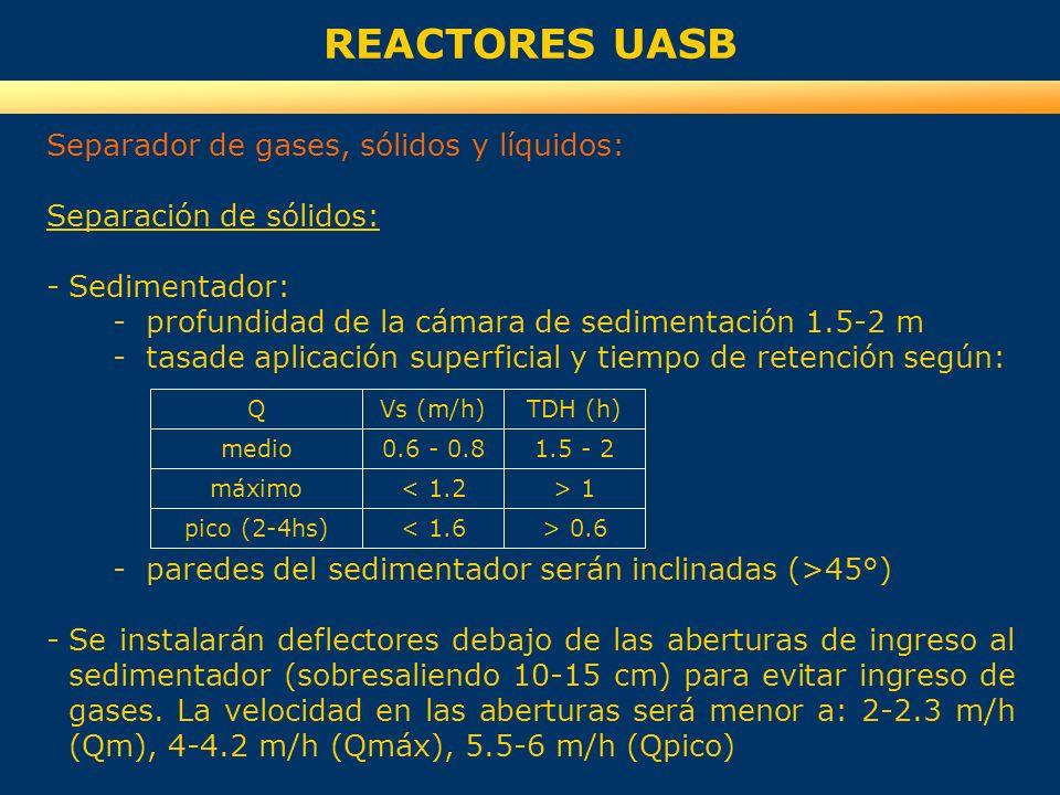 REACTORES UASB Separador de gases, sólidos y líquidos: