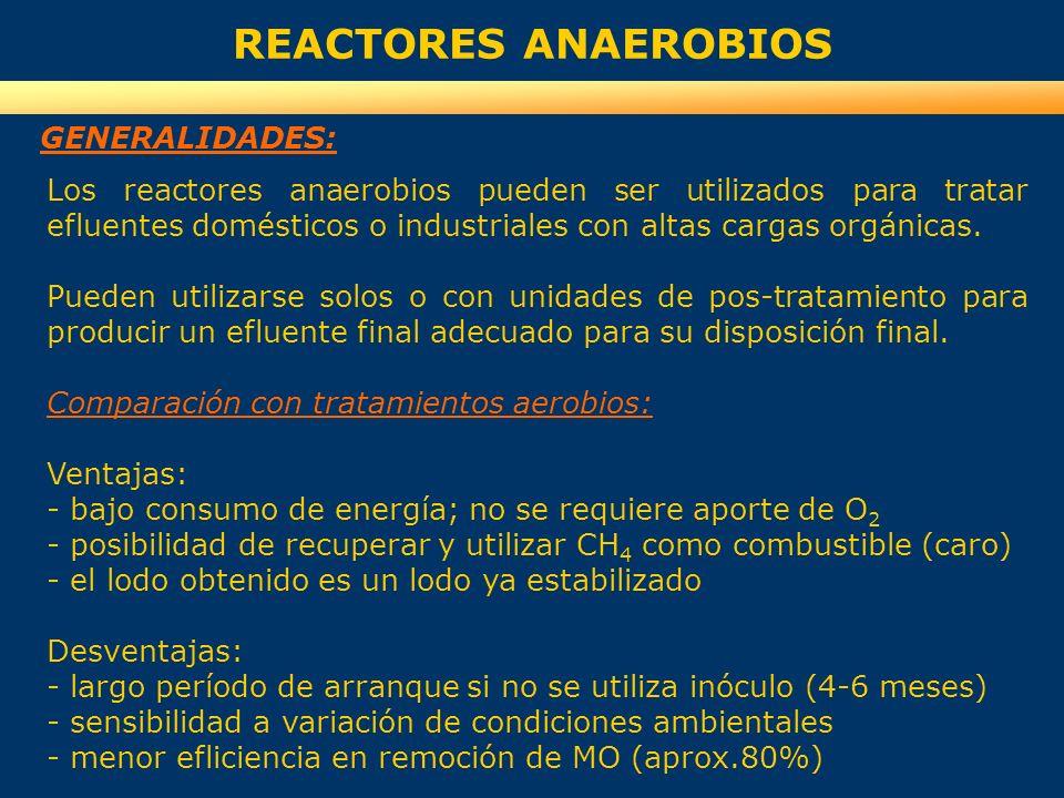 REACTORES ANAEROBIOS GENERALIDADES:
