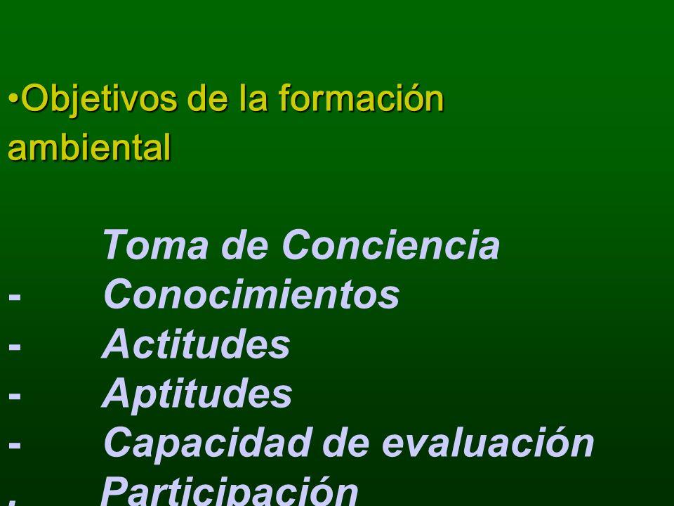 Objetivos de la formación ambiental Toma de Conciencia - Conocimientos - Actitudes - Aptitudes - Capacidad de evaluación .