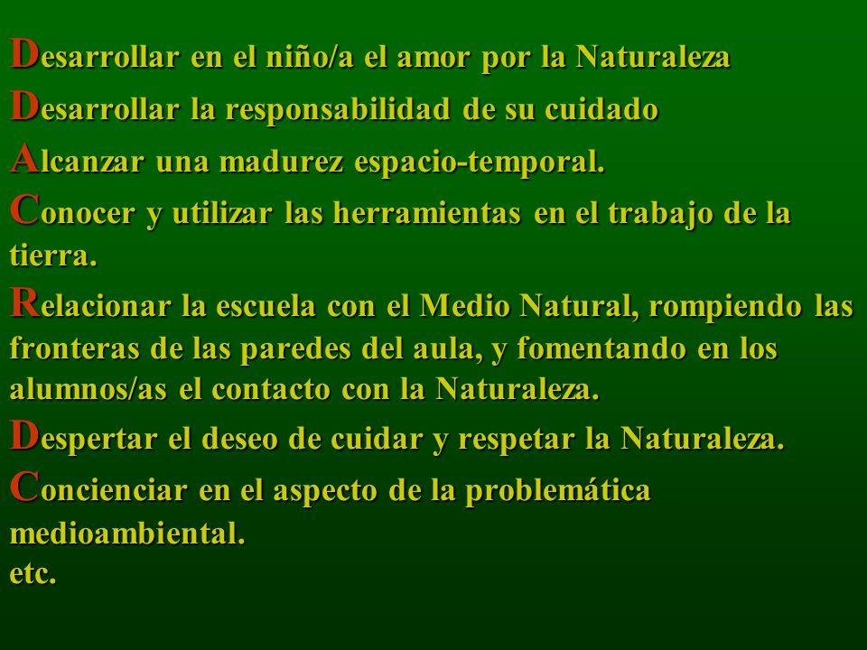 Desarrollar en el niño/a el amor por la Naturaleza Desarrollar la responsabilidad de su cuidado Alcanzar una madurez espacio-temporal.