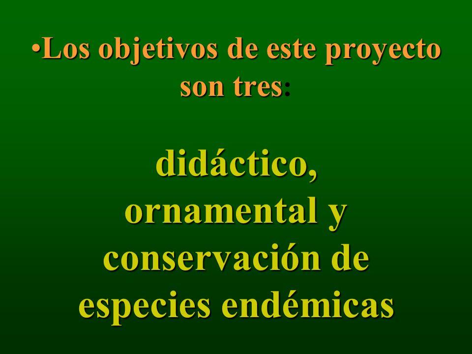 Los objetivos de este proyecto son tres: didáctico, ornamental y conservación de especies endémicas