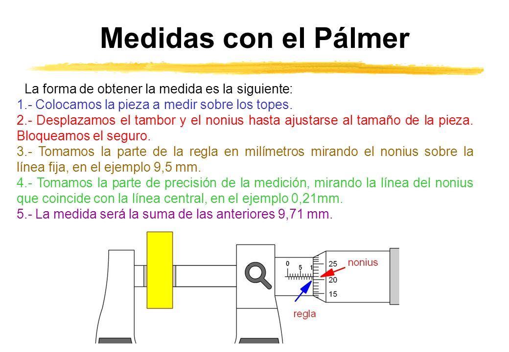 Medidas con el Pálmer La forma de obtener la medida es la siguiente: