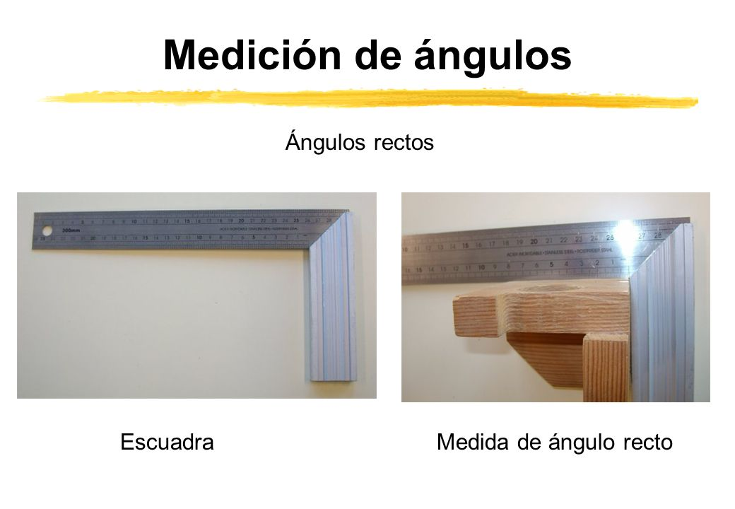 Medición de ángulos Ángulos rectos Escuadra Medida de ángulo recto