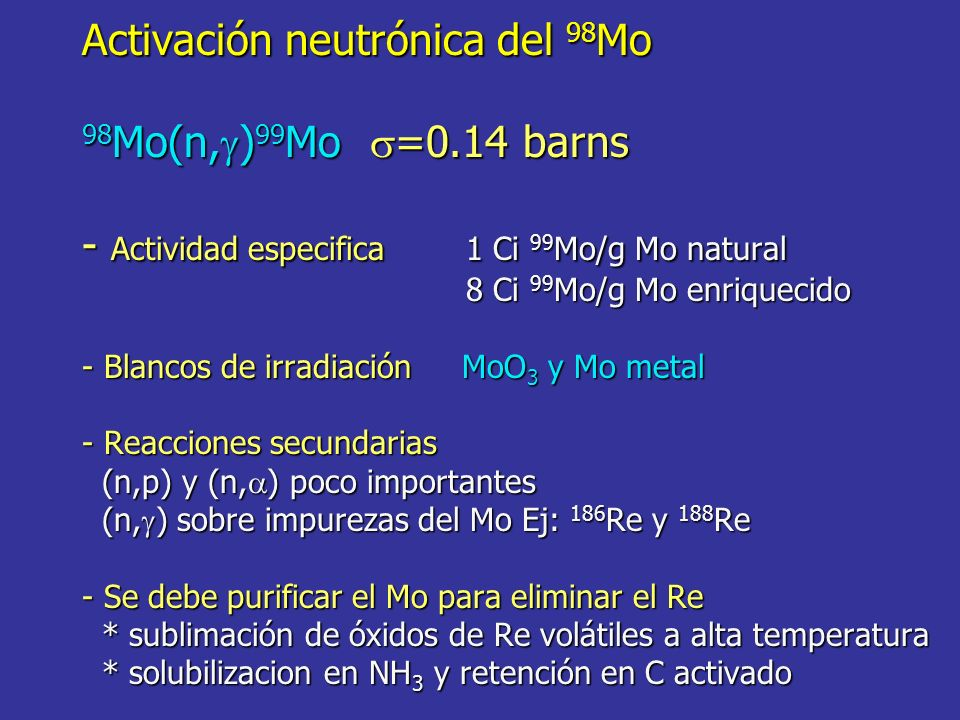 Activación neutrónica del 98Mo 98Mo(n,g)99Mo s=0