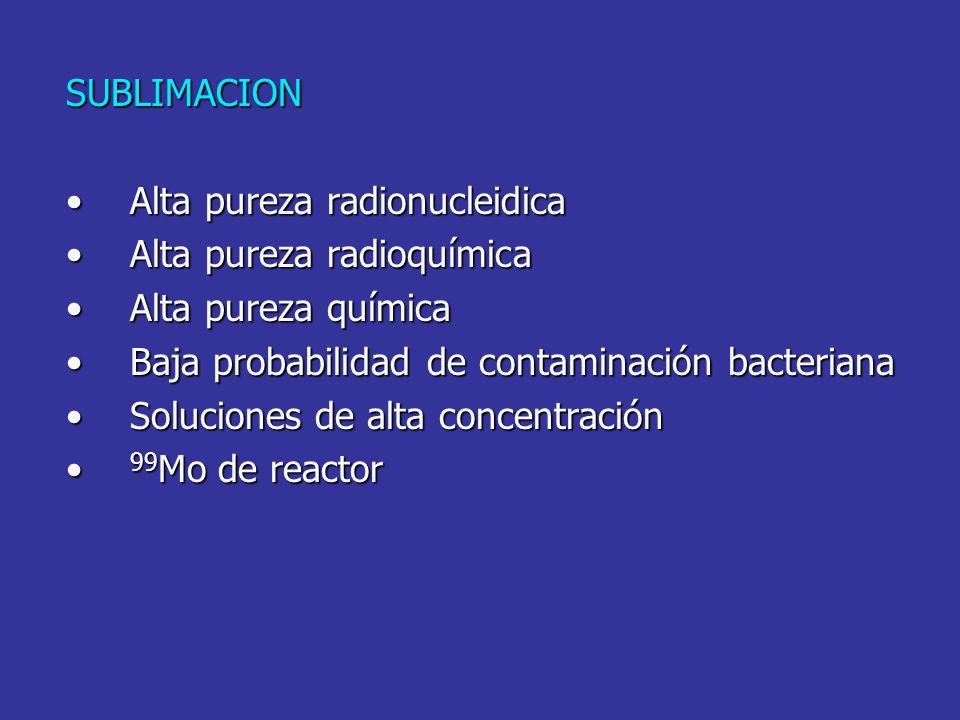SUBLIMACION Alta pureza radionucleidica. Alta pureza radioquímica. Alta pureza química. Baja probabilidad de contaminación bacteriana.