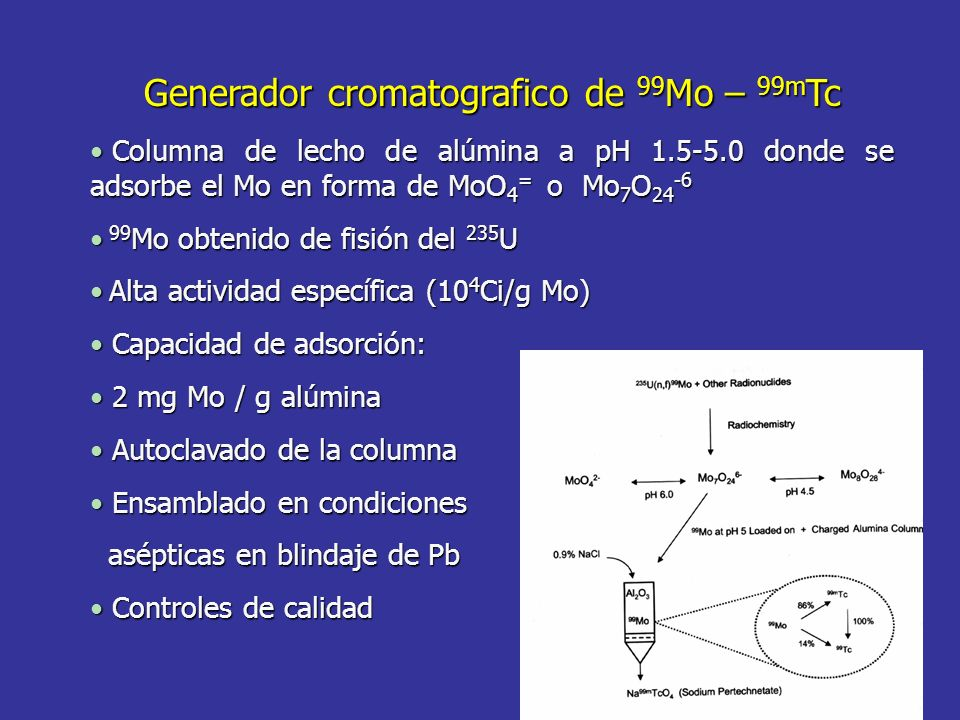 Generador cromatografico de 99Mo – 99mTc