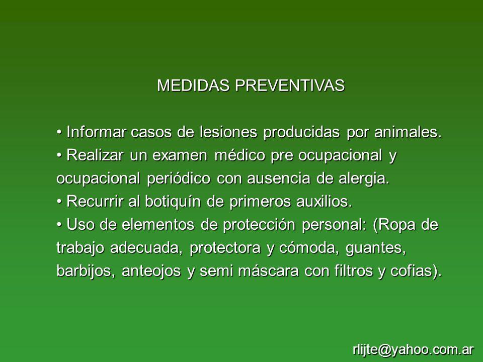 Informar casos de lesiones producidas por animales.