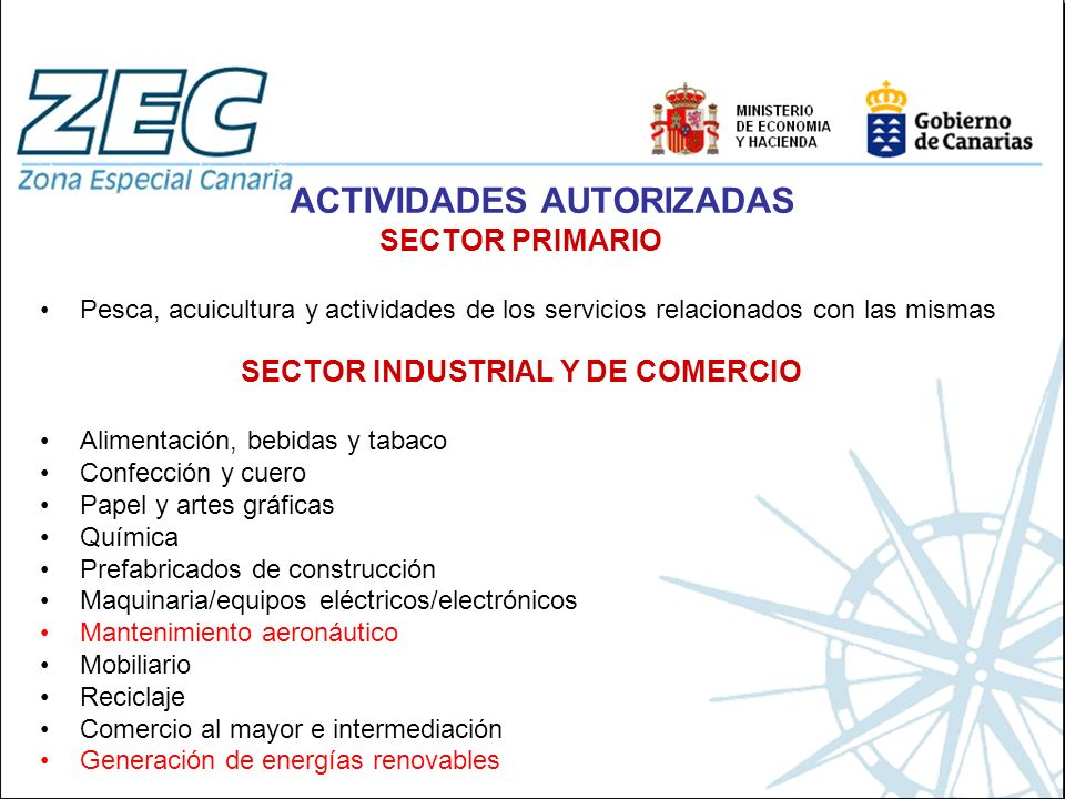 ACTIVIDADES AUTORIZADAS SECTOR INDUSTRIAL Y DE COMERCIO