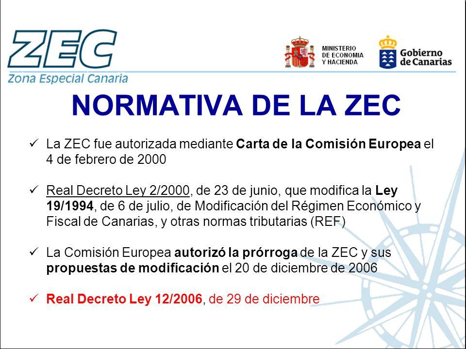 NORMATIVA DE LA ZEC La ZEC fue autorizada mediante Carta de la Comisión Europea el 4 de febrero de 2000.