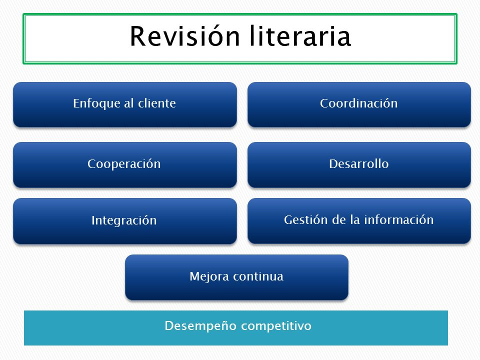 Revisión literaria Desempeño competitivo Enfoque al cliente