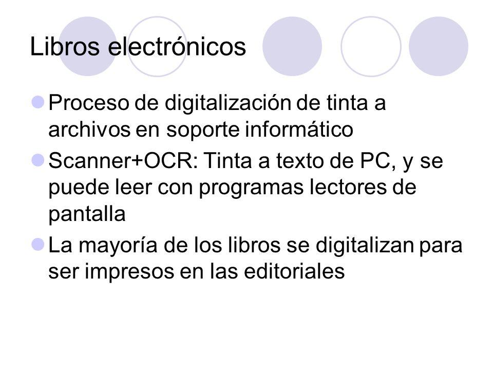 Libros electrónicos Proceso de digitalización de tinta a archivos en soporte informático.