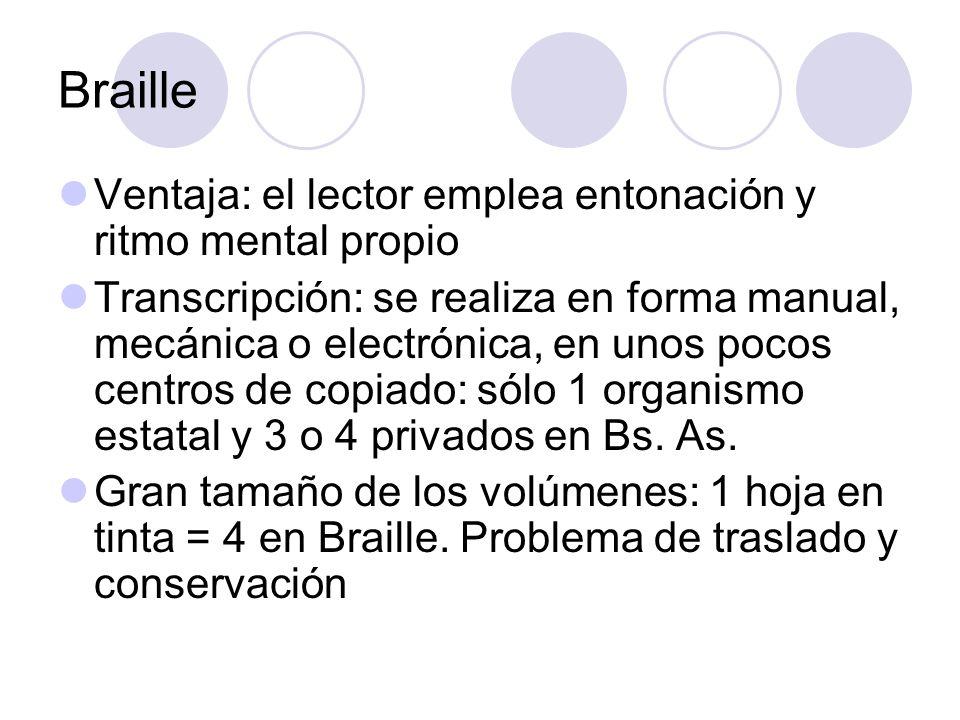 Braille Ventaja: el lector emplea entonación y ritmo mental propio