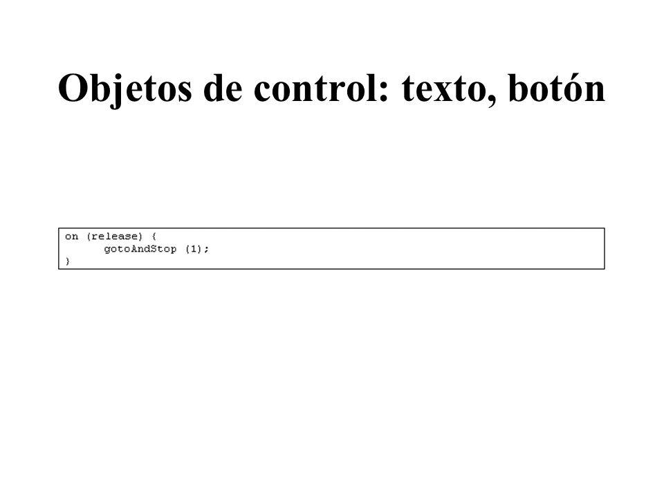 Objetos de control: texto, botón