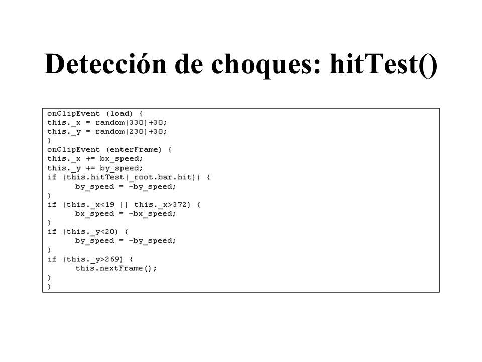 Detección de choques: hitTest()