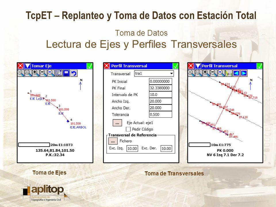 Toma de Datos Lectura de Ejes y Perfiles Transversales
