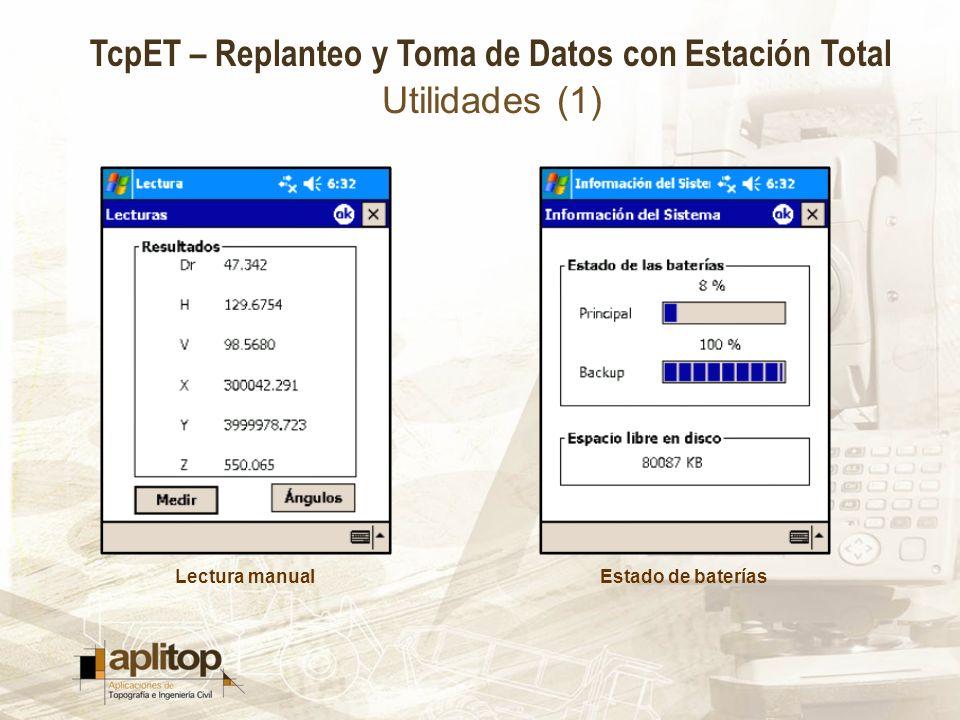 Utilidades (1) Lectura manual Estado de baterías