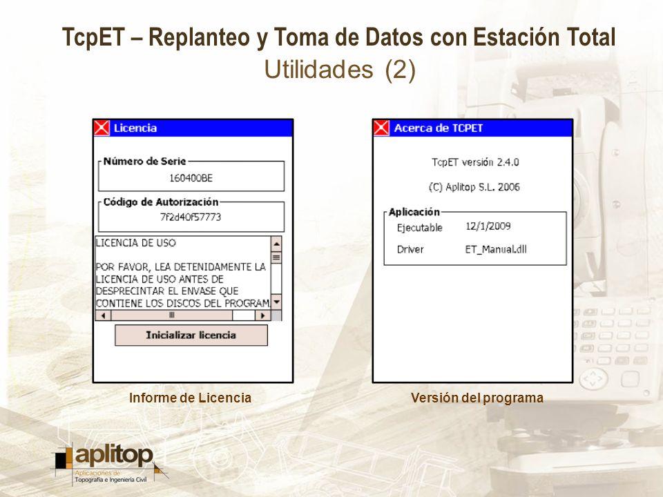 Utilidades (2) Informe de Licencia Versión del programa