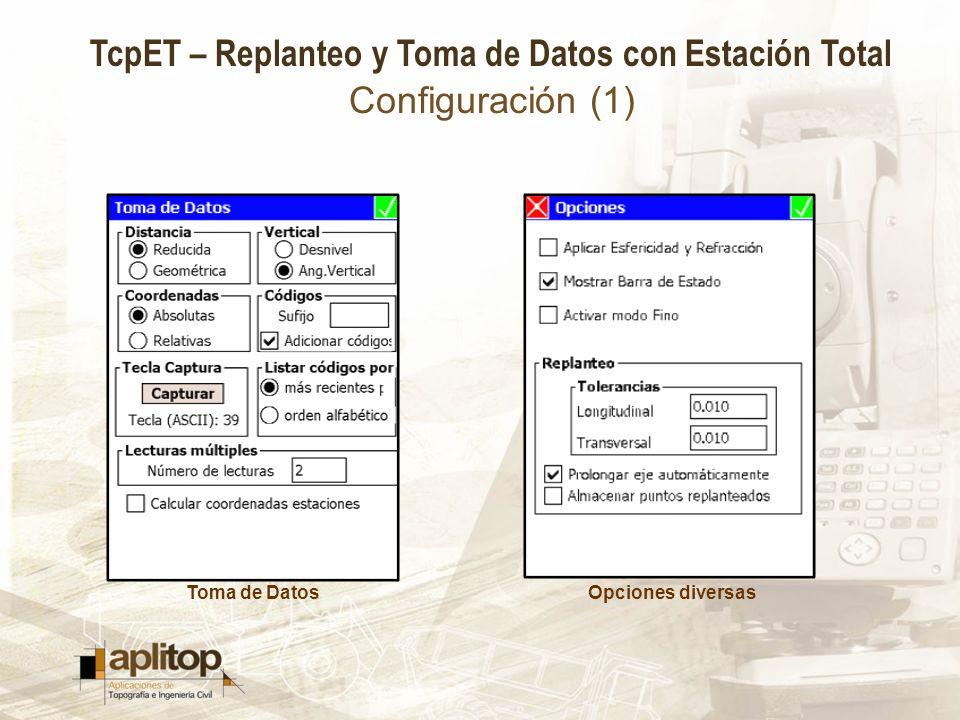 Configuración (1) Toma de Datos Opciones diversas