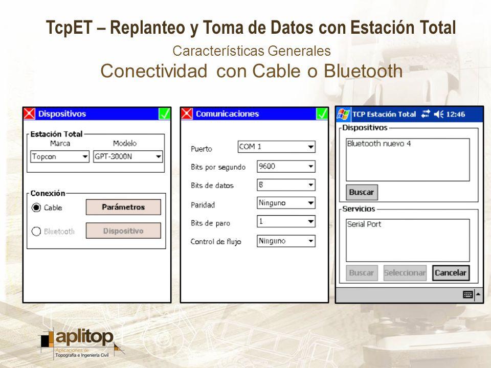 Características Generales Conectividad con Cable o Bluetooth
