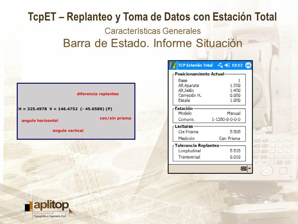 Características Generales Barra de Estado. Informe Situación
