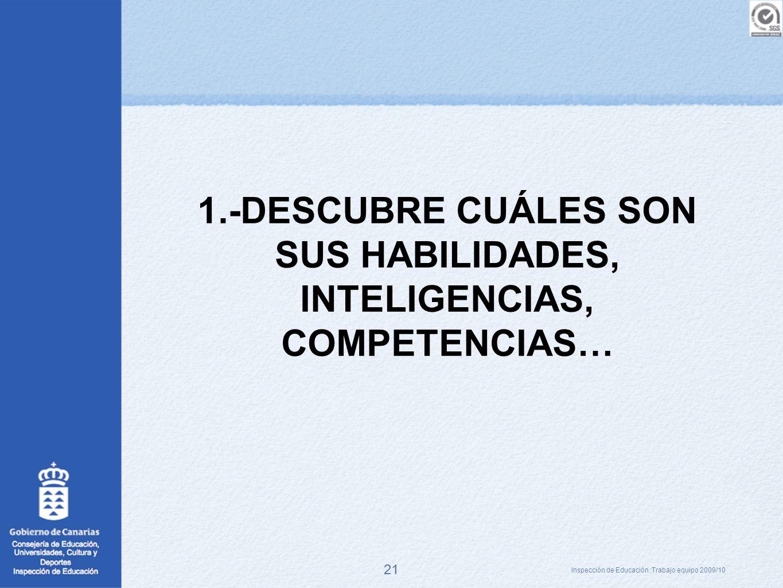 1.-DESCUBRE CUÁLES SON SUS HABILIDADES, INTELIGENCIAS, COMPETENCIAS…