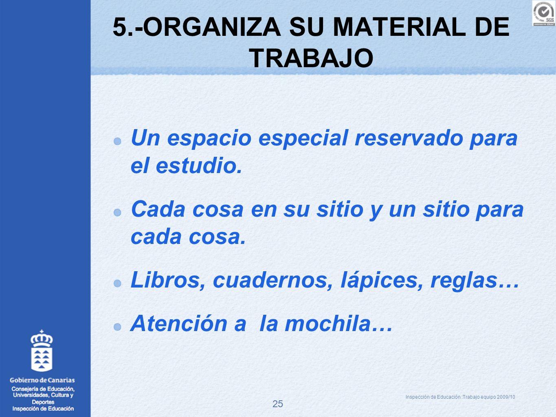 5.-ORGANIZA SU MATERIAL DE TRABAJO