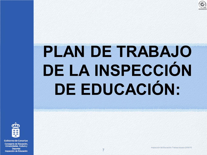 PLAN DE TRABAJO DE LA INSPECCIÓN DE EDUCACIÓN: