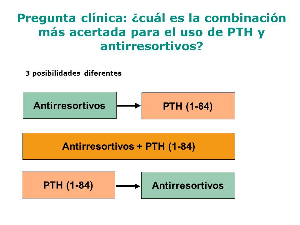 3 posibilidades diferentes Antirresortivos + PTH (1-84)