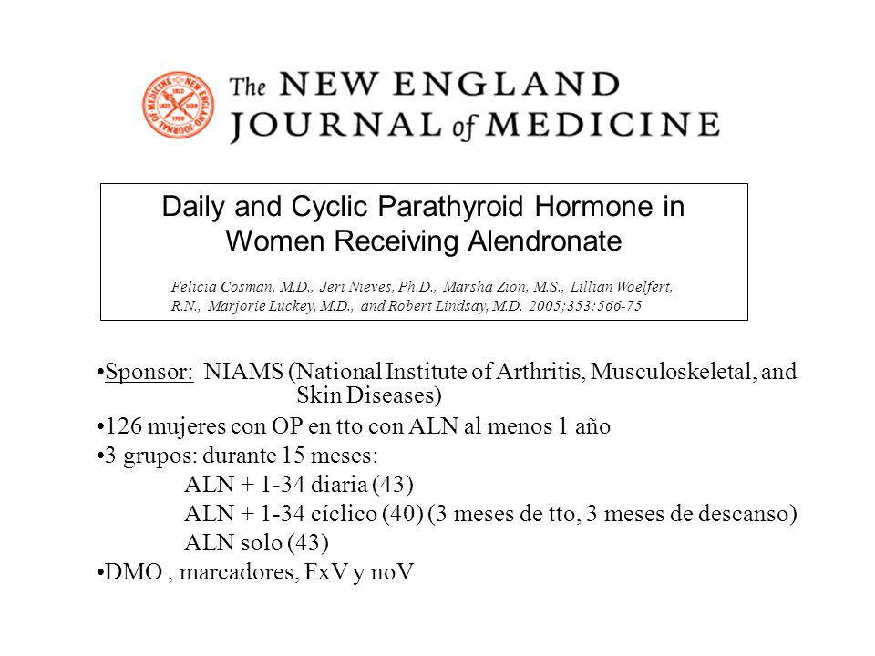 Daily and Cyclic Parathyroid Hormone in Women Receiving Alendronate