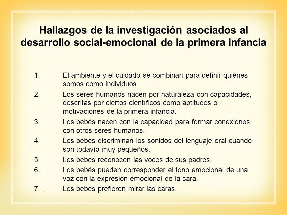 Hallazgos de la investigación asociados al desarrollo social-emocional de la primera infancia