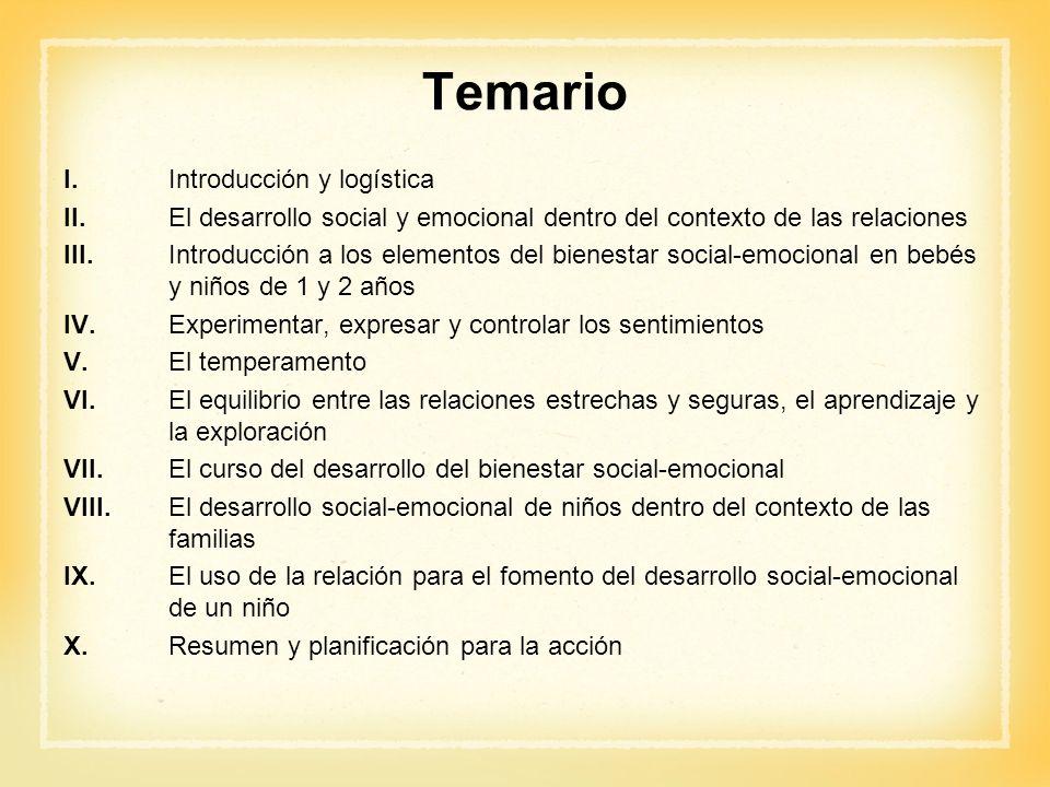 Temario I. Introducción y logística