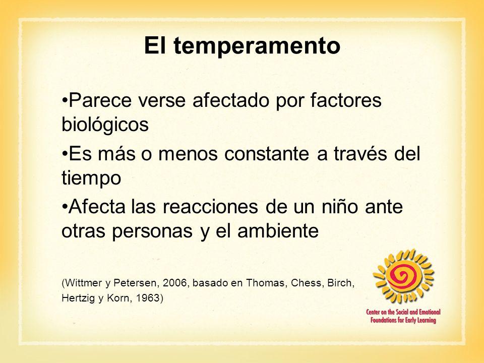 El temperamento Parece verse afectado por factores biológicos