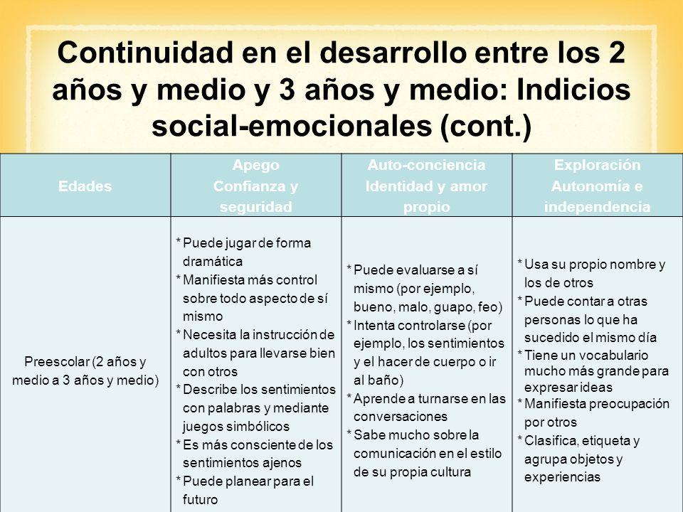 Continuidad en el desarrollo entre los 2 años y medio y 3 años y medio: Indicios social-emocionales (cont.)