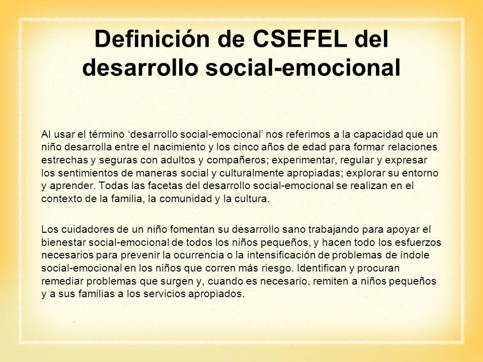 Definición de CSEFEL del desarrollo social-emocional