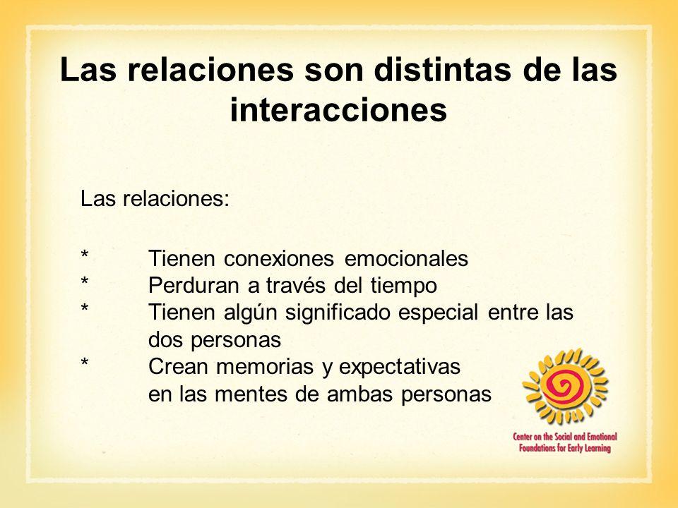 Las relaciones son distintas de las interacciones