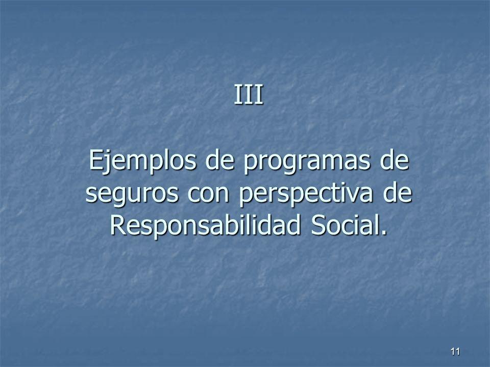 III Ejemplos de programas de seguros con perspectiva de Responsabilidad Social.