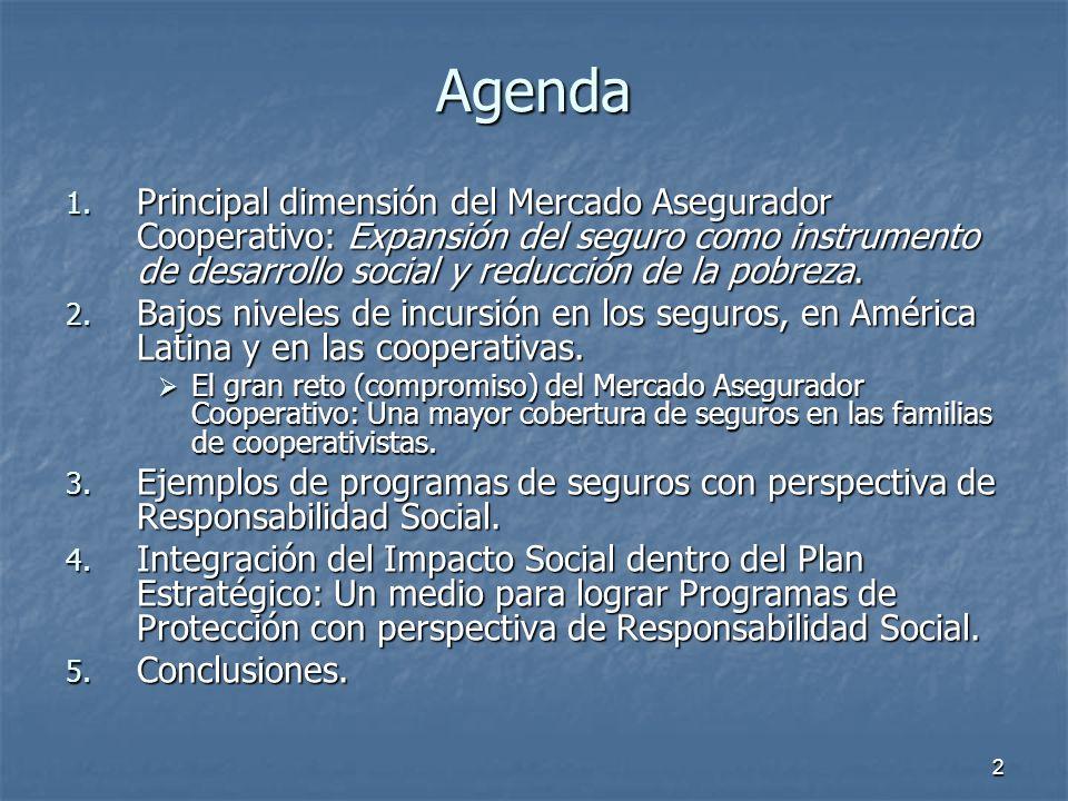 Agenda Principal dimensión del Mercado Asegurador Cooperativo: Expansión del seguro como instrumento de desarrollo social y reducción de la pobreza.