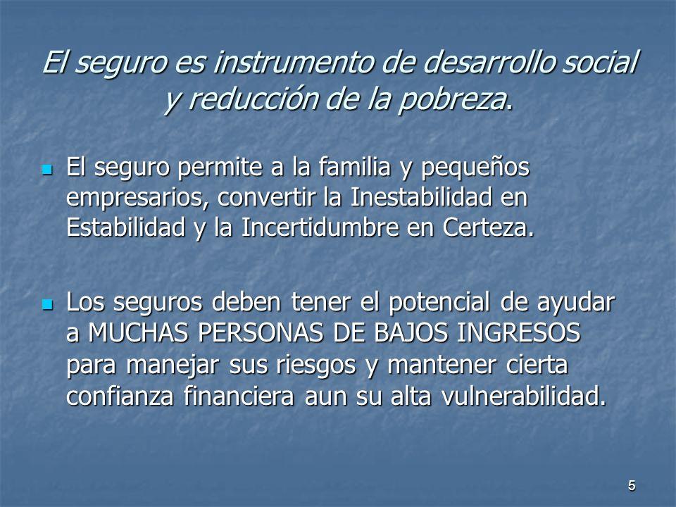 El seguro es instrumento de desarrollo social y reducción de la pobreza.