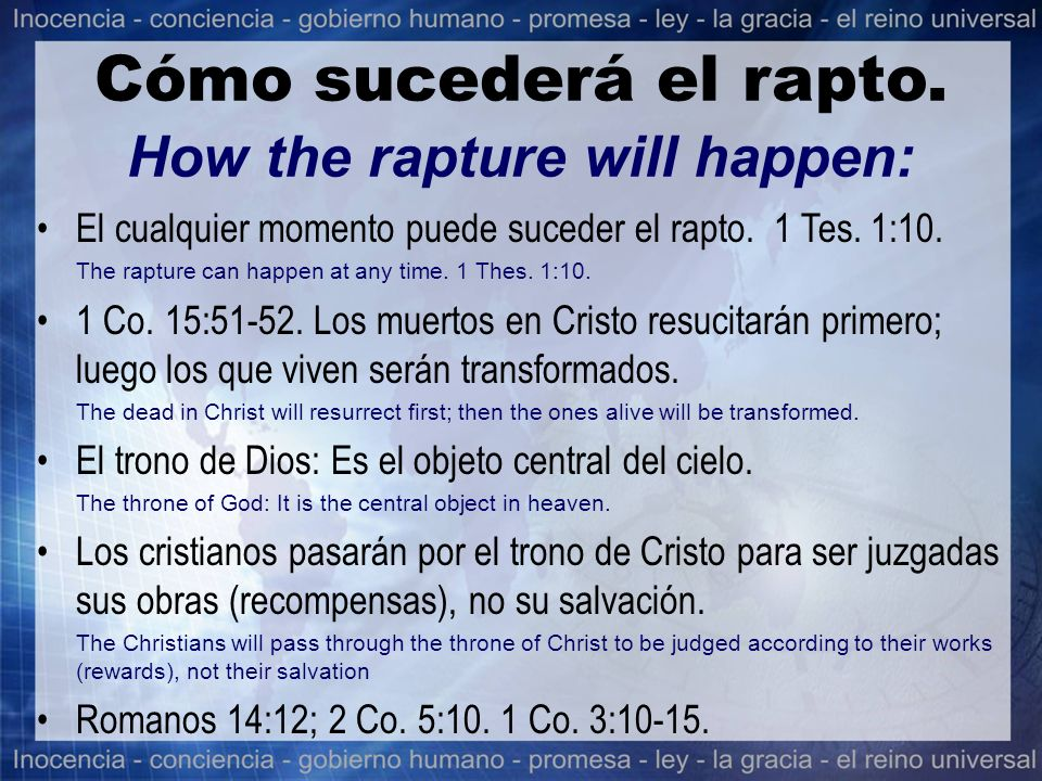 Cómo sucederá el rapto. How the rapture will happen: